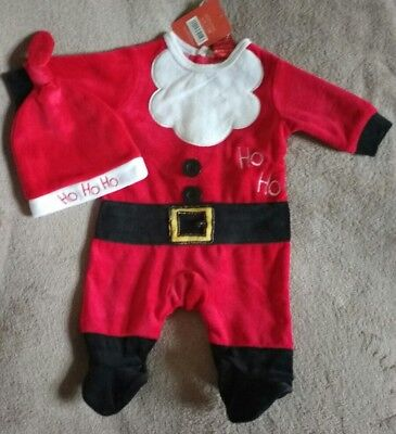 BABY GIRLS BOYS SANTA FATHER CHRISTMAS ALL IN ONE OUTFIT & HAT.0-3 MONTHS.NEW ()