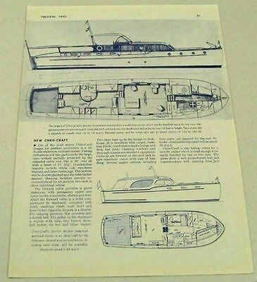 1945 Magazine Picture Article Chris-Craft Boat Designs 60 Ft Cruiser & 36 Ft
