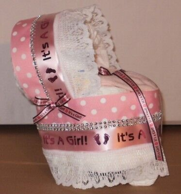 Its A Girl Diaper Cake Bassinet Baby Shower Gift Centerpiece (Its A Baby Diaper Cake)