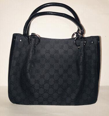 Gucci GG Black Canvas Guccissima Handbag Vintage Excellent Condition