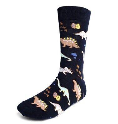 Dinosaur Socks (New PARQUET BRAND Men's DINOSAUR PATTERN Novelty Crew Socks DINOSAUR EGGS )