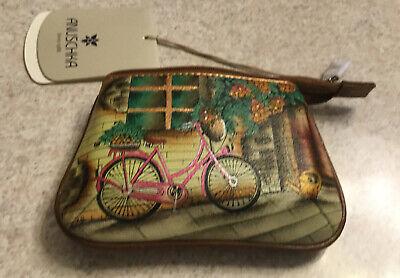 Anuschka Bike  Hand Painted Leather Coin Purse