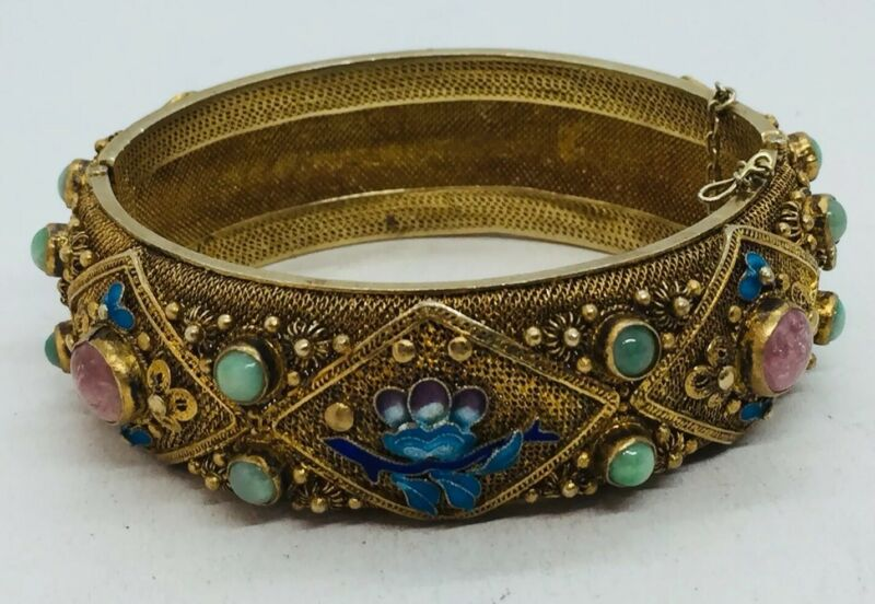 Chinese Antique Sterling Silver Jade Rose Quartz Enamel Filigree Bracelet