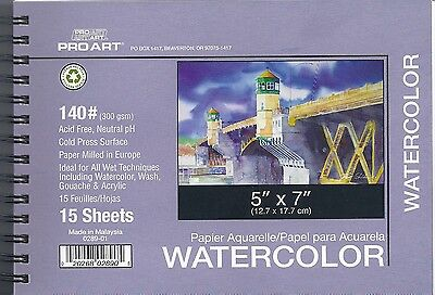 SPIRAL BOUND WATERCOLOR PAD 5X7 140 LB ~ FREE SHIPPING!