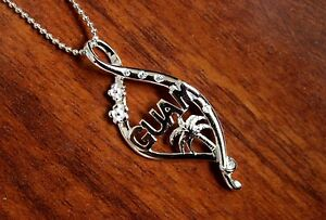Hawaii jewelry Sterling Silver GUAM Island Palm Tree Pendant Necklace SP83901