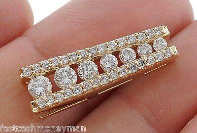 LADIES 14K YELLOW GOLD JOURNEY DIAMOND 1 CT TW ROW PENDANT DESIGNER CHARM