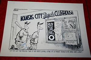 KANSAS CITY & OMAHA ROYALS EDITORIAL CARTOON original art