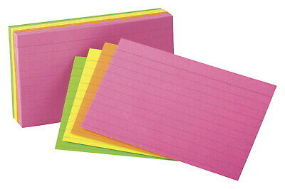 Oxford Neon Ruled Index Card 3 X 5 Inches Assorted Colors Pack Of 100