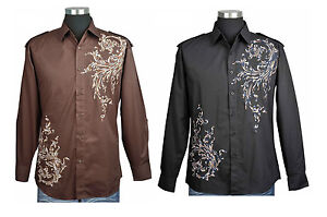 100-Cotton-Mens-Casual-Dress-Shirt-With-Embroidered-Design-Brown-And-Black