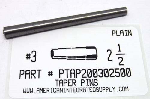 "#3X2-1/2 TAPER PIN STEEL PLAIN .219"" LARGE END DIAMETER (3)"