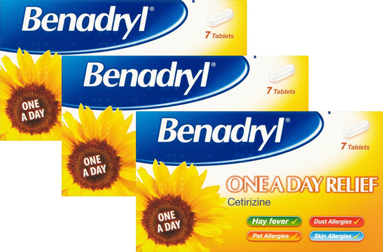 benadryl ONE AL GIORNO Allergia SOLLIEVO 7 COMPRESSE - certirizine - x 3