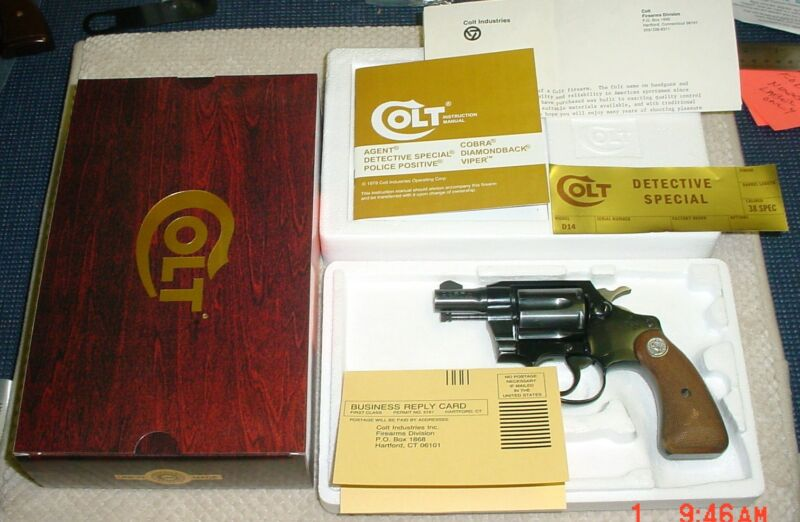 Colt Foam Insert Wood Grain Box and Paperwork for Agent Cobra Detective Special