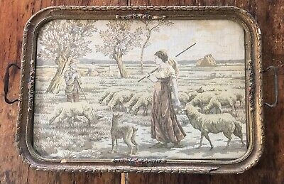 vtg antique tapestry in glass serving tray Butler Servant's Tray Sheep Woman