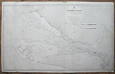 1895 AFRICA WEST COAST SHERBRO RIVER SIERRA LEONE VINTAGE ADMIRALTY CHART MAP