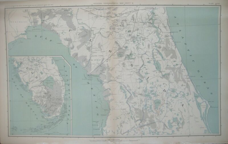 Original Civil War Topo Map FLORIDA Forts Military Roads Jacksonville Everglades