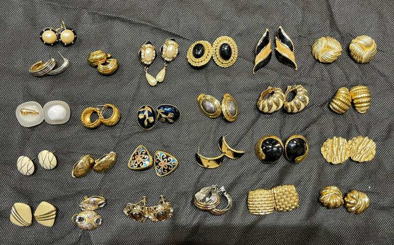 Huge Lot 25 Vintage Enamel Statement Gold Tone Two Tone Clip Pierced Earrings