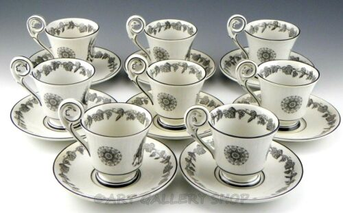 Vintage Mottahedeh Italy BLACK & WHITE CREIL CUPS AND SAUCERS Set of 8