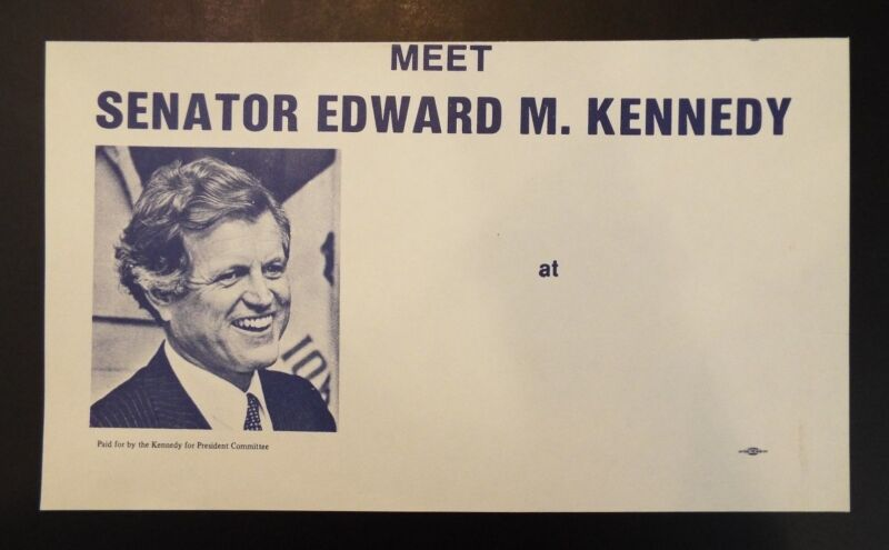 Meet Senator Edward M. Kennedy Vintage Unused Political Campaign Flyer