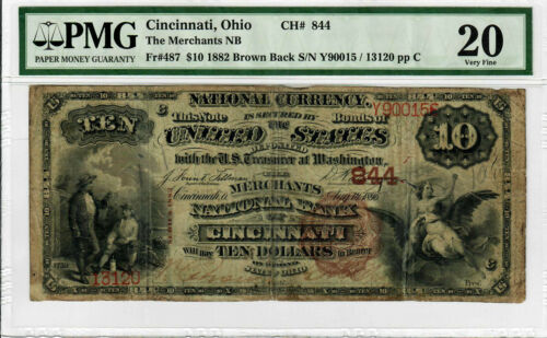 1882 $10 FR 487 National Currency Brown Back PMG VF20 Certified Graded Note 9005