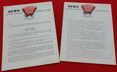 1957 Two Press Releases For Bridge Over The River Kwai From Location In Ceylon