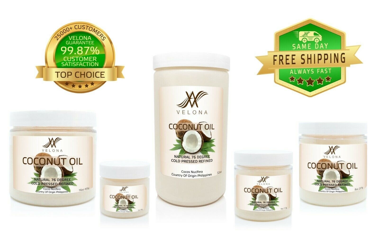Coconut Oil 76 Degree 2oz-7lb REFINED NATURAL CARRIER Cold Pressed 100% PURE jar Health & Beauty
