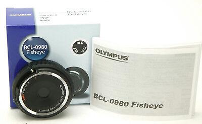 (Olympus Micro Four Thirds 4/3 Body Cap Fish-Eye Black Lens 8/9mm BCL-0980. NEW.)