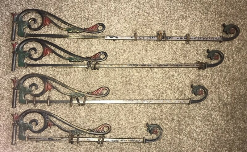 (4) Vintage Art Deco Wrought Iron Curtain Rods Painted Finish