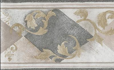 Grey and Tan Diamonds with Gold Leaf Scroll Marble Look WALLPAPER BORDER
