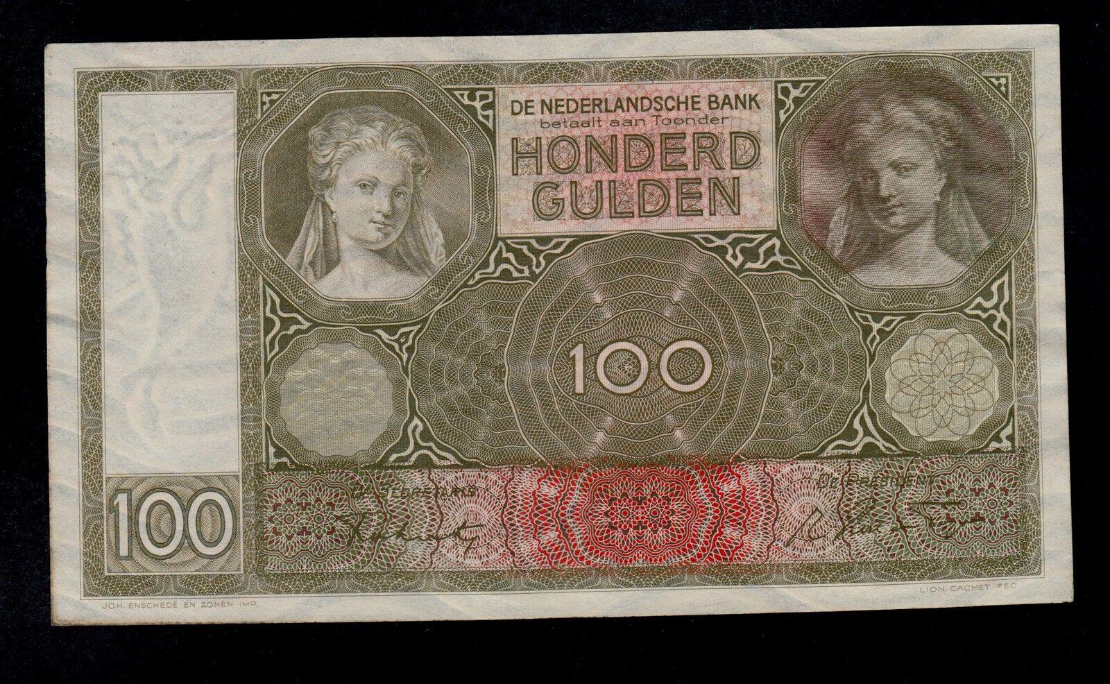 RECTO 100 gulden Type 1930 luitspelende vrouw - None