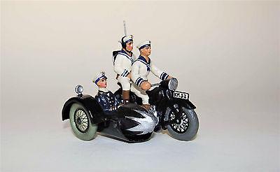 Lineol Motorrad mit Beiwagen u. Marine Funker-Besatzung