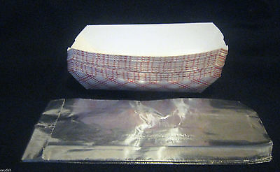 25 Hot Dog Food Trays Foil Bags Baskets Boat Printed Paper Cardboard Parties