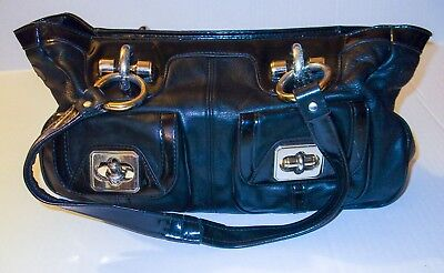 B. MAKOWSKY Large Black Leather Satchel Gold Hardware Patent Leather Trim