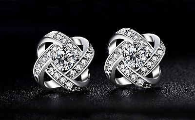 Beautiful New Silver White Gold Plated Clear CZ Accented Love Knot Stud (White Gold Love Knot Earrings)