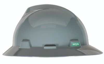 Msa V-gard Full Brim Hard Hat With Fas-trac Ratchet Suspension Gray