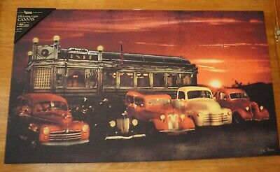 Retro Vintage Cars Light Up DINER Canvas Sign Drive In Restaurant Route 66 Decor