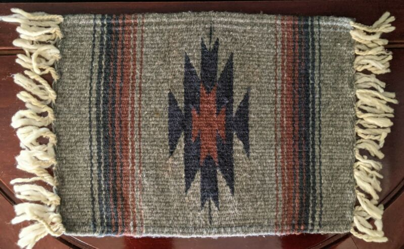 """Native American Woven Rug Table Runner Small 15""""x 11.25"""" Southwest Grey Textile"""