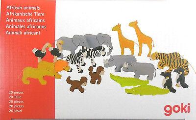 Goki Afrikanische Tiere Holzfiguren, Holzspielzeug, 20 teilig, NEU