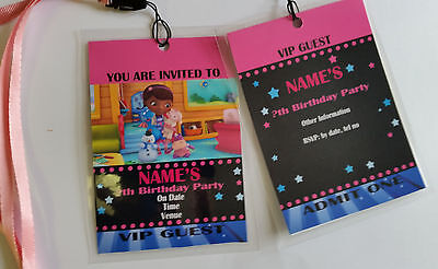 Personalised Dr McStuffins  VIP Lanyard for Birthday Party Invites](Dr Mcstuffins Party)