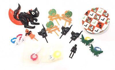 Vintage Halloween Noisemaker Plastic Black Cat Cupcake Toppers Casper Lot of 16