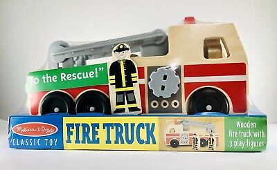 - MELISSA & DOUG🚒Classic Fire Truck Wooden w/3 Play Figures Imaginative Play NIP
