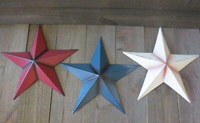 Set of 3 Red White & Blue 10 inch Barn Stars Metal Patriotic Americana Flag Tin