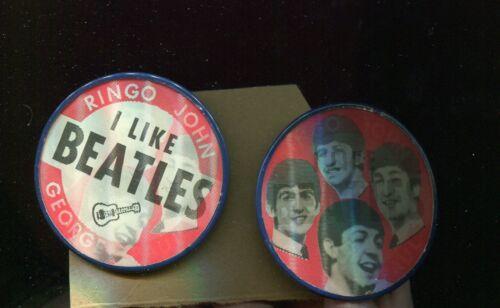 "RED ""I Like Beatles"" John, Paul, Ringo & George Vari Vue Flicker Pinback Button"
