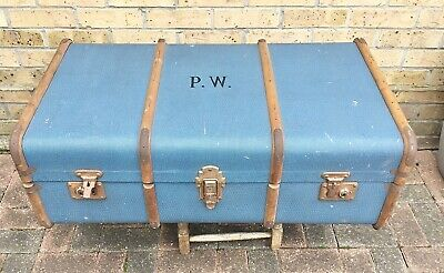 VINTAGE~~Large~~STEAMER TRUNK/CHEST~~Wooden Banded~~STORAGE, COFFEE TABLE?