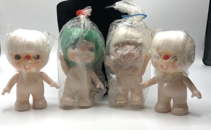 "Vintage Darice Dolls 6"" Yarn Hair Fibre Crafts Green White Lot Of 4"