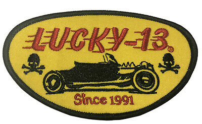 Lucky 13 Since 1991 Embroidered Patch Iron/Sew-On Applique Biker Emblem Tactical