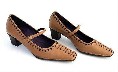Hispanitas Womens Leather Brown Mid Heels Buckle Strap Court Shoes EU 39 UK 6