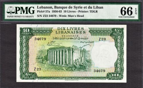 Lebanon 10 Livres 1961 Pick-57a GEM UNC PMG 66 EPQ