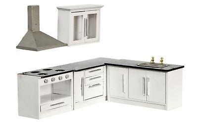 *SALE*Dollhouse Miniature 1:12 White Wood Kitchen Furniture Set