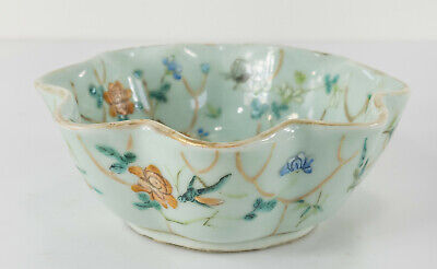 Chinese Celadon Covered Bowl Lotus Flowers