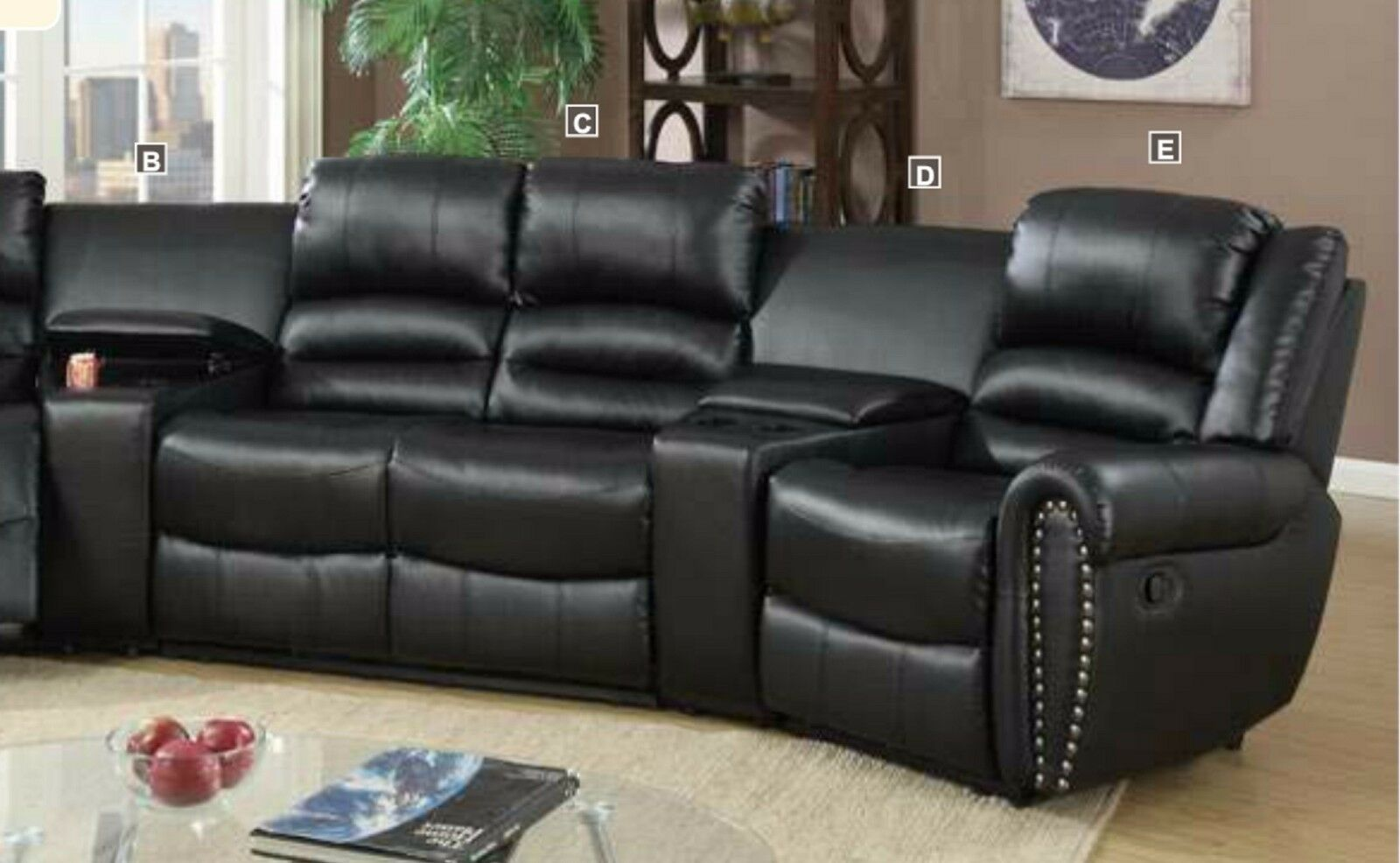 Black Bonded Leather 5pc Reclining Motion Home Theater Glider Loveseat Console 1
